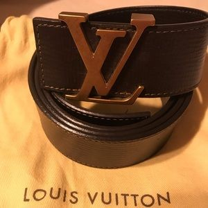 Authentic Louis Vuitton Brown belt/Gold LV Buckle